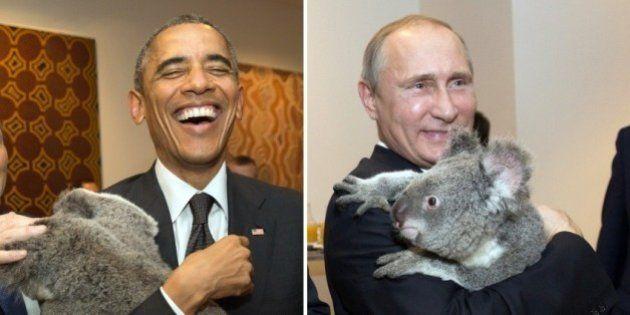 PHOTOS. Au G20, Obama et Poutine posent chacun avec... un