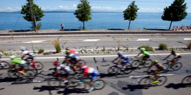 The pack rides during the sixteenth stage of the Tour de France cycling race over 209 kilometers (129.9...