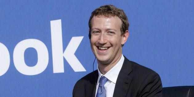 Facebook CEO Mark Zuckerberg smiles while speaking at Facebook in Menlo Park, Calif., Sunday, Sept. 27,...