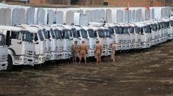 Les gardes-frontières ukrainiens commencent l'inspection du convoi