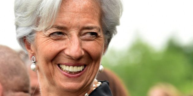 International Monetary Fund Managing Director Christine Lagarde shares a joke prior to the gala dinner...