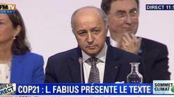Fabius au bord des larmes pendant la présentation de l'accord final de la