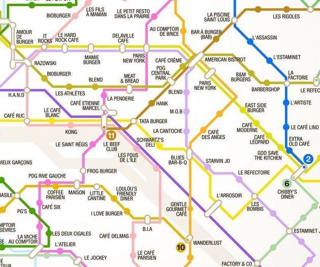 Sortir à Paris: pour vous aider, des cartes utiles pour trouver des burgers, des bars, et de la nourriture