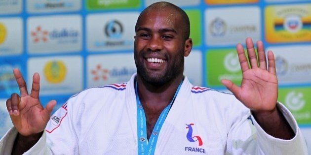 FILE - In this Aug. 29, 2015, file photo, France's Teddy Riner poses during an award ceremony of the...