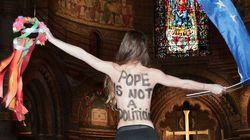 Les Femen remontées contre la venue du pape au Parlement
