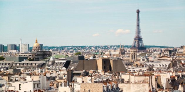 Panoramic view of Paris from the roof of The Centre Pompidou Museum building. France.