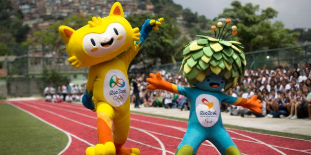 FILE - This is a Monday, Nov. 24, 2014 file photo of the mascots of the Rio 2016 Olympics, left, and...