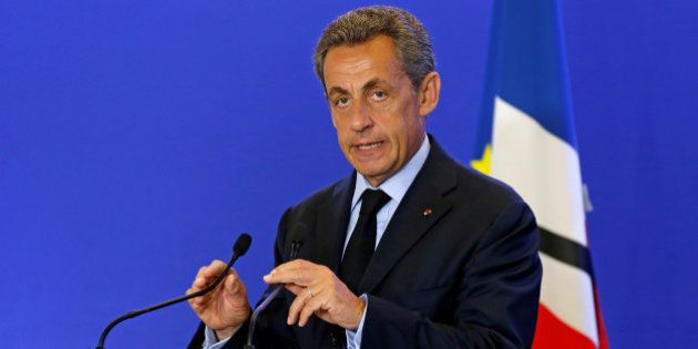 Nicolas Sarkozy, head of France's Les Republicains political party and former French president, makes...
