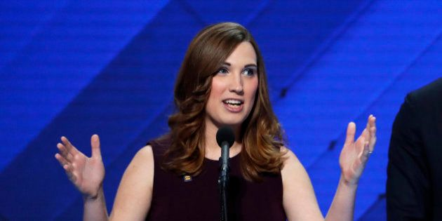 LGBT rights activist Sarah McBride speaks as Rep. Sean Patrick Maloney, D-NY, Co-Chair of the Congressional...