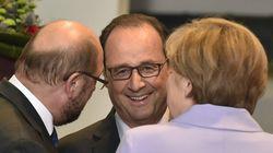 Hollande et Merkel main dans la main au Parlement