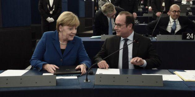 Hollande et Merkel devant le Parlement européen: un discours consensuel raillé par les