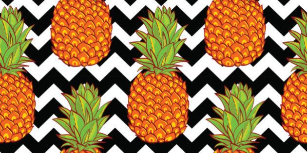 Tropical Pineapples Background  Seamless Pattern  on a geometric background