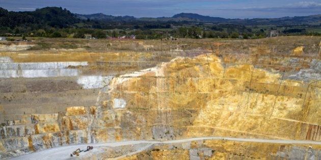The open-pit Martha gold mine, situated in the centre of the town of