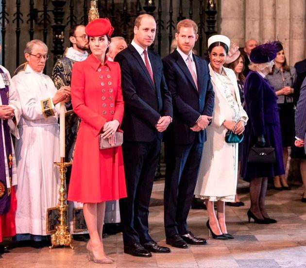 Los duques de Cambridge y los duques de Sussex, en una misa el 11 de marzo en
