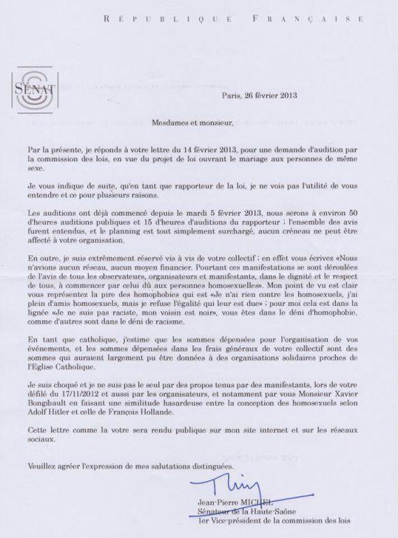 Mariage gay: le rapporteur du texte au Sénat refuse d'entendre Frigide Barjot et son