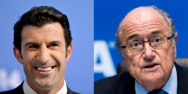 Luis Figo annonce sa candidature à la présidence de la Fifa face à Joseph Blatter (et David