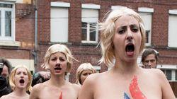 Marine Le Pen chahutée par les Femen à