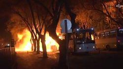 Les images du lieu de l'explosion d'une voiture piégée à
