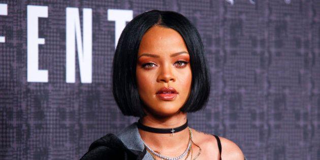 Rihanna attends the FENTY PUMA by Rihanna fashion show at 23 Wall Street on Friday, Feb. 12, 2016, in...
