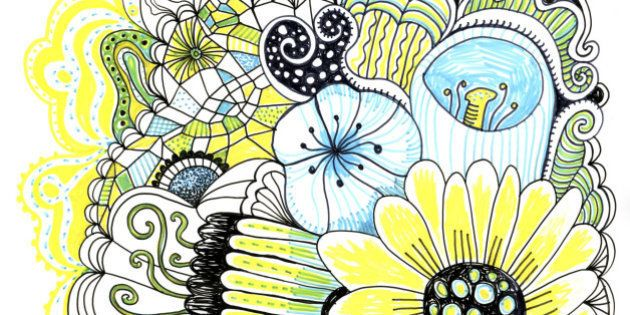 Image of the hand drawn flowers and abstract plants.