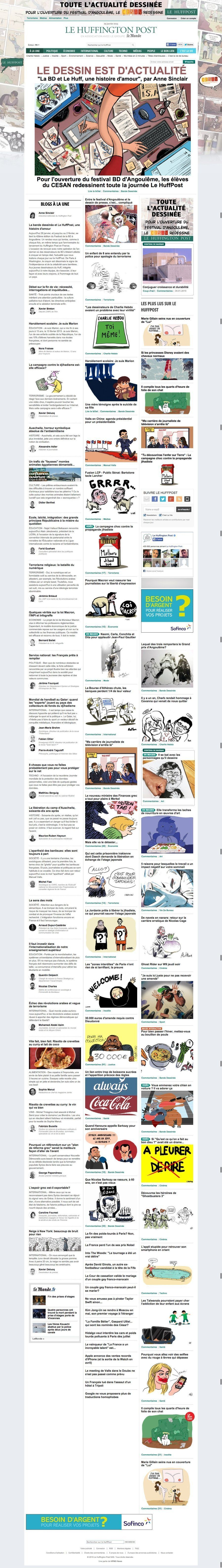 PHOTOS. Festival d'Angoulême 2015: la une du HuffPost en dessins tout au long de la