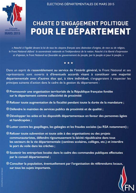 Départementales 2015: le FN dévoile sa charte UMP-compatible pour le troisième