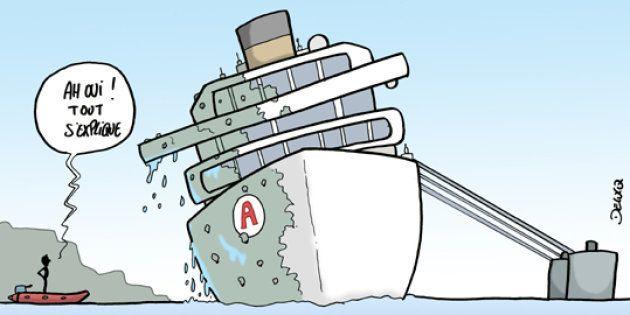 Le Concordia sort de son trou, le capitaine reste au fond du