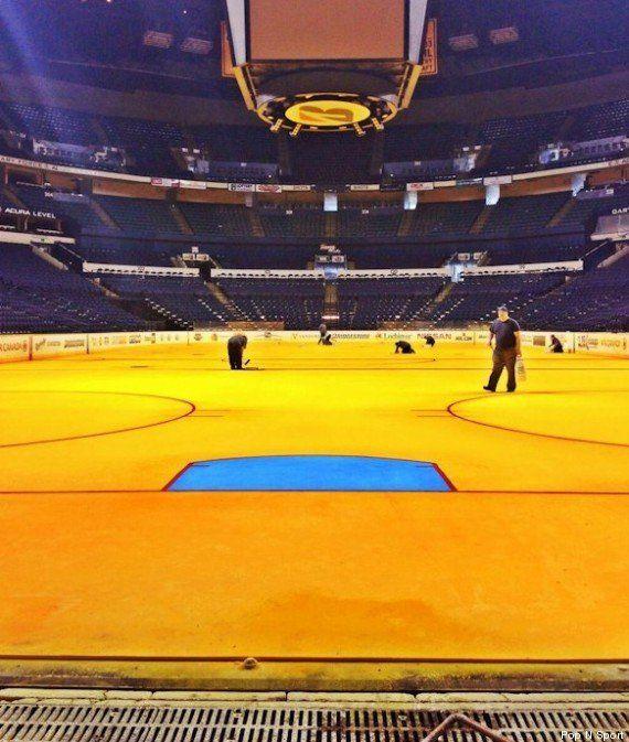 PHOTOS. La patinoire des Nashville Predators peinte en...
