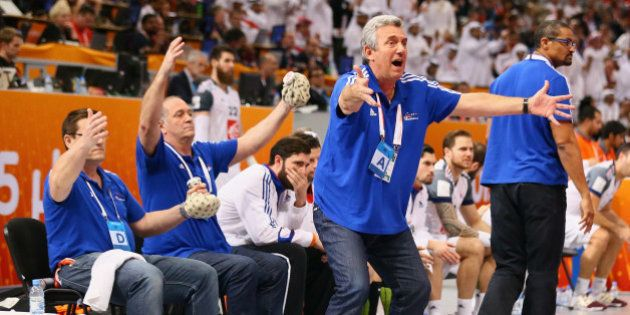 DOHA, QATAR - FEBRUARY 01: Head coach Claude Onesta of France during the final match between Qatar and...