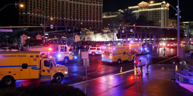 Police and emergency crews respond to the scene of a car accident along Las Vegas Boulevard, Sunday,...