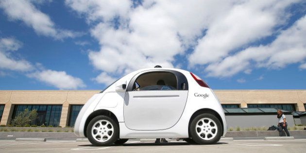 FILE - This May 13, 2015 file photo shows the front of Google's new self-driving prototype car during...