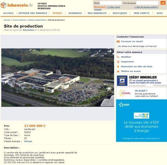 Le Bon Coin: mise en vente d'une usine bretonne par ses salariés victimes d'un plan