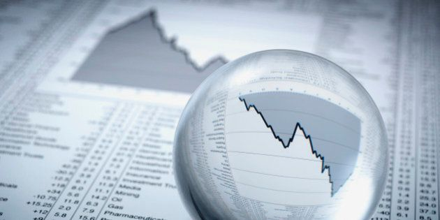 Crystal ball, descending line graph and share