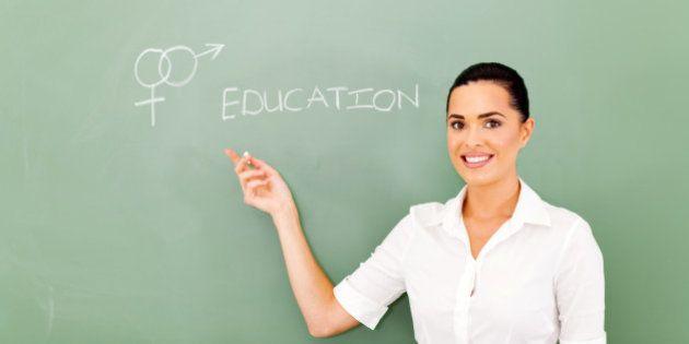 female teacher pointing at