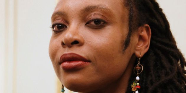 Cameroonian author Leonora Miano poses on November 6, 2013 in Paris, after being awarded by the Femina...