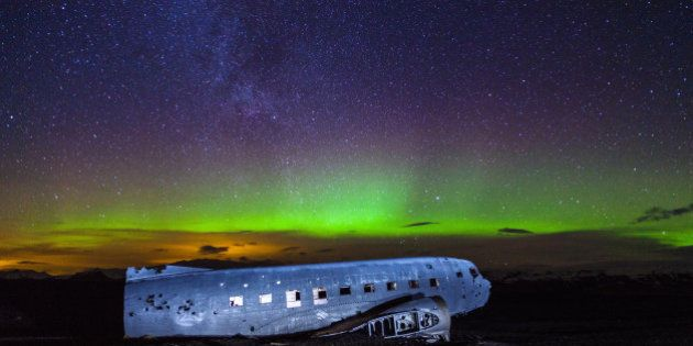 A US Navy DC-3 made a safe crash landing on a volcanic beach near Vik Iceland in 1973 and it's been there ever since. The aurora came out brilliantly last night and we were lucky enough to capture it.