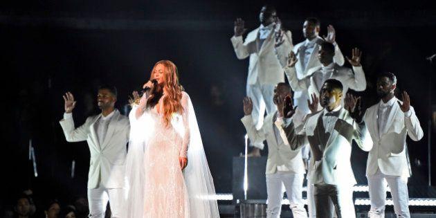 PHOTOS. Grammy Awards 2015: Beyoncé et Pharrell Williams contre les violences policières faites aux