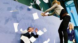 Mario Draghi victime d'un attentat au confetti en pleine conférence de