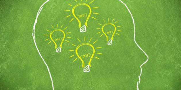 light bulbs as ideas in a man's ...