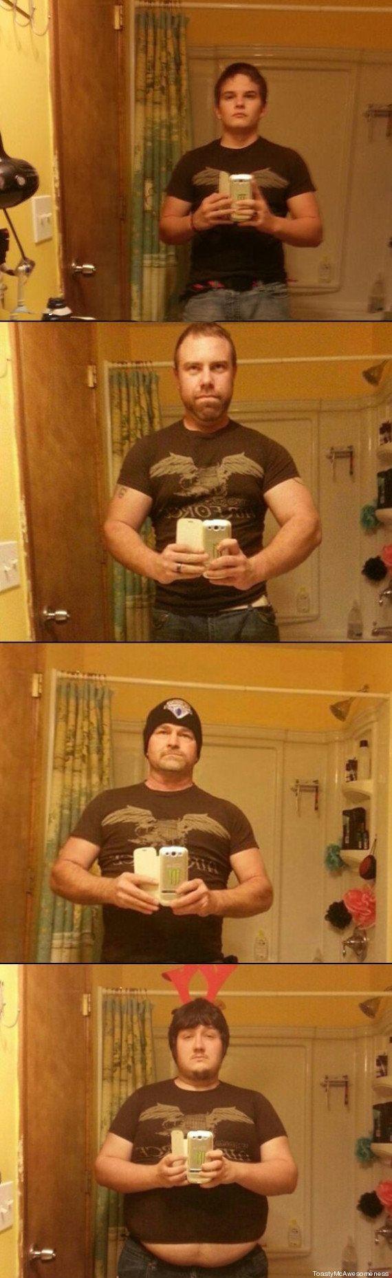 PHOTO. Il prend un selfie dans la salle de bain, toute sa famille