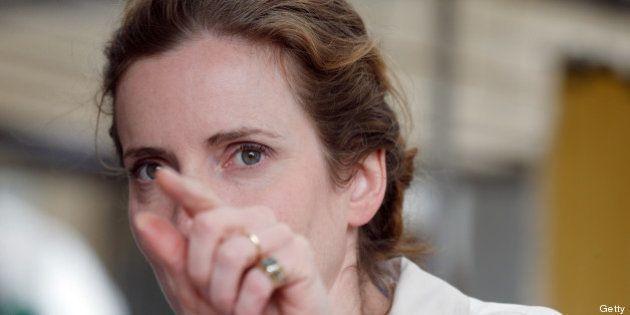 UMP party candidate for Paris 2014 Mayoral election Nathalie Kosciusko-Morizet (L), meets supporters...