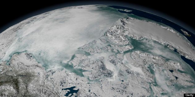 Sea ice above North America on April 26,