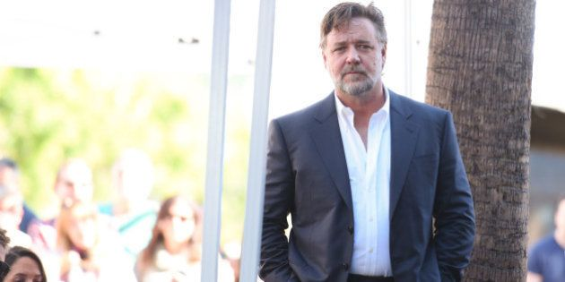Actor Russell Crowe attends a ceremony honoring Ridley Scott with a star on the Hollywood Walk of Fame...