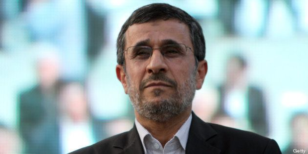 Iranian outgoing President Mahmoud Ahmadinejad is seen during a ceremony at Tehran's Golestan Palace...