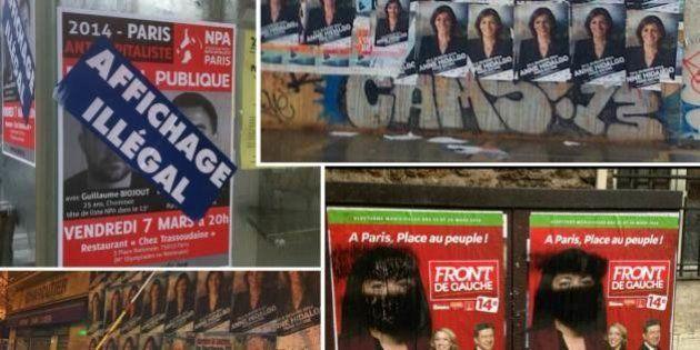 Affichage sauvage: la guerre du collage fait rage entre les candidats aux municipales à