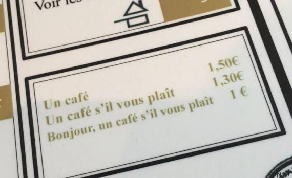 Le prix du café change selon la politesse du client? La carte d'un restaurant français étonne les internautes