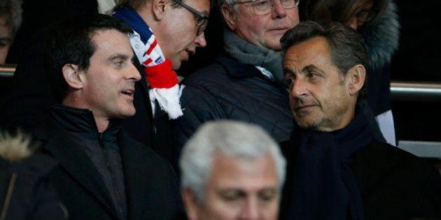 Sarkozy et Valls côte à côte au Parc des Princes pour