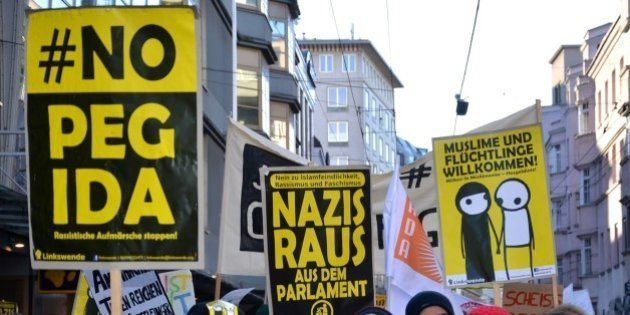 LINZ, AUSTRIA - FEBRUARY 8 : More than 3 thousand 500 people attend an anti-Pegida protest in Linz, Austria...