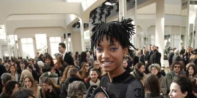 Willow Smith poses before Chanel's Fall-Winter 2016-2017 ready to wear fashion collection presented in...