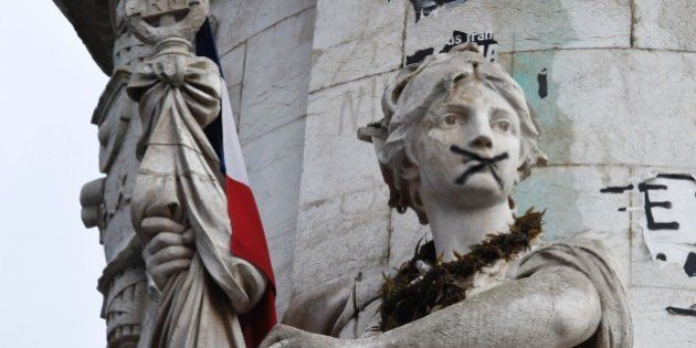 A statue making up part of the central Statue of Marianne is seen at Place de la Republique (Republic...